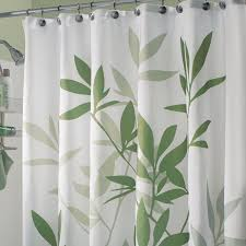 gorgeous green leafs pattern extra long shower curtain with chrome rods as decorate in modern bathroom ideas