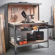 garage work station. Garage Work Bench Metal Workshop Table Large Station Workbench W/ Storage Drawer