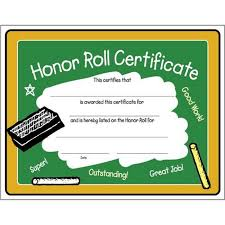 Honor Roll Certificate Promos On Time