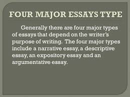 generally there are four major types of essays that depend on the  generally there are four major types of essays that depend on the writer s purpose of writing