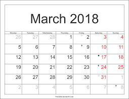 blank march calendar 2018 march 2018 calendar with holidays printable calendar weekly
