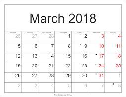 blank march calendar 2018 march 2018 calendar with holidays printable calendar weekly