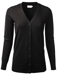 <b>Women's V</b>-<b>Neck</b> Long Sleeve Button Down Boyfriend Fit Knit ...