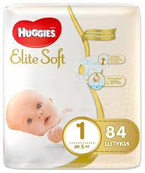 <b>Huggies подгузники Elite</b> Soft 1 (до 5 кг) 84 шт. — купить по ...