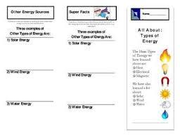 Types Of Energy Brochure Teachers Pay Teachers Teacher