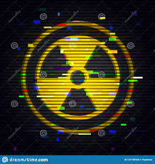 Radiation Design Radiation Glitch Sign Danger Toxic Symbol In Computer Style