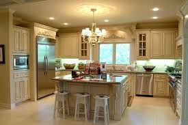 Beautiful Hanging Lamp Above Minimalist Counter Closed Round Stools On  Floortile In Kitchen Designs With Islands