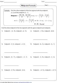 Endpoint Formula Midpoint Formula Worksheets