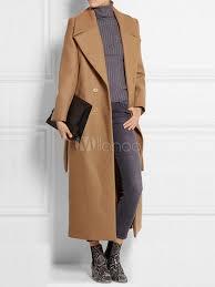 trench coat women camel overcoat long sleeve wrap coat for winter no 1