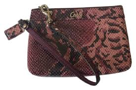 Coach Exotic Embossed Leather Madison Purple Python Small Snakeskin New Signature  Wristlet ...