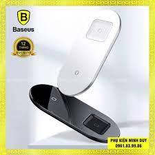 Đế sạc nhanh không dây Baseus Simple 2 in 1 Wireless Charger 15W cho iPhone  và Airpods (15W, Wireless Quick charger) ❤ - Đế sạc không dây