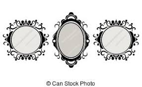 vintage mirror clipart. vintage mirror frames set. vector collection of round and square frames, design element clipart