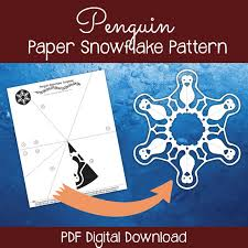 Snowflakes Template Pdf Penguin Paper Snowflake Pattern Pdf Digital Download