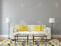 White Couch Living Room Modern Living Room Interior With White Couch Near Empty Gray