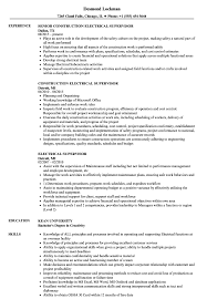 Electrical Supervisor Resume Samples Velvet Jobs