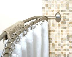 smart rod double straight tension shower curtain brushed nickel corner