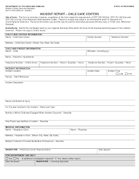 Best Photos Of Health Care Incident Report Form Child Care