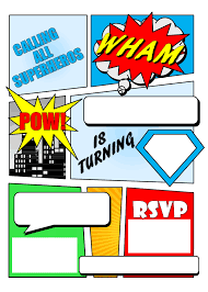 superhero comic book party invitation printable superhero printable invitation by my paper craze