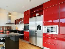 retro red modern kitchen cabibet