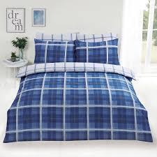 dreamscene denim check duvet cover with pillowcase tartan bedding set blue white