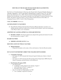 MINUTES OF THE BOARD OF ELECTIONS REGULAR MEETING September 5, 2019 The  District of Columbia Board of Elections (the Board) held