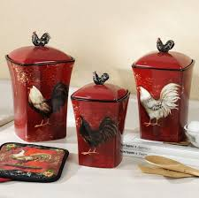 red rooster themed kitchen pots design