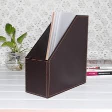1 slot wood leather desk file book box self holder doent filing organizer case brown 224b in home office storage from home garden on