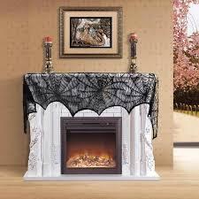 bat spider web lace table lamp fireplace cloth window curtain decor 46x244cm