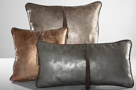 Small Picture LEATHER THROW PILLOW CUSHION ANTIQUE Matte Copper Beige Home decor