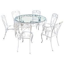 iron garden furniture set round table and six chairs for