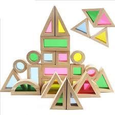 perbezaan baby educational toy colorful rainbow montessori transpa acrilic wooden building blocks sensory toy set