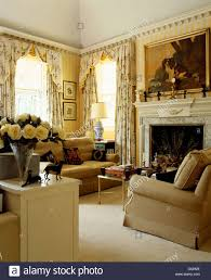 Living Room Country Curtains Beige Sofas And Cream Carpet In Yellow Country Living Room With