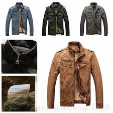 details about men s faux pu leather jacket thick fur lined collar coat winter jacket for men