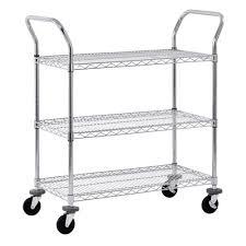 sandusky 3 tier 800 lb capacity nsf chrome wire cart