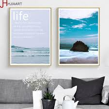 Us 899 Ocean Waves Coconut Tree Landscape Canvas Poster Motivational Life Quotes Wall Artworks Print Noridc Decoration Painting In Painting