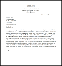 Professional Patient Care Assistant Cover Letter Sample Writing