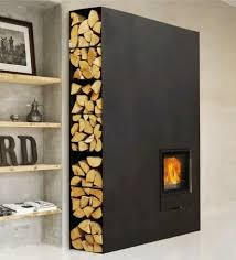 firewood storage - modern steel living room fireplace with firewood storage  on the side - shelterless