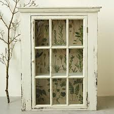 glass door rustic white wall cabinet