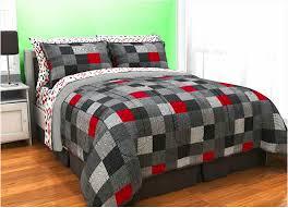 red black grey geo pixel bedding twin xl full teen boy comforter bed in a bag set