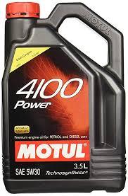 Motul 4100 Power Sae 5w30 Semi Synthetic Engine Oil For Petrol Diesel Cng Lpg Cars 3 5 L