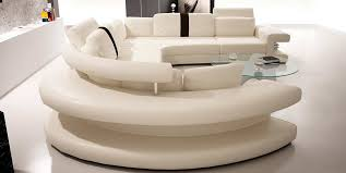 modern leather sectional sofas. Modern Rounded White Bonded Sectional Sofa For Small Space Leather Sofas