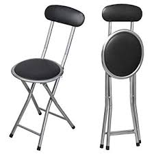 tinxs black round padded folding high chair breakfast kitchen stool soft seat capacity 264lbs
