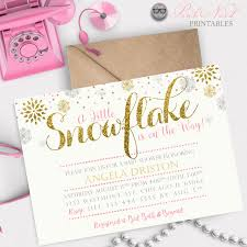 Snowflake Baby Shower Invitations A Little Snowflake Baby Shower Invitation Winter Baby Shower