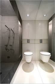 bathroom: Classy Black And White Accent Color In Minimalist Bathroom With  Floating Bidet Close White