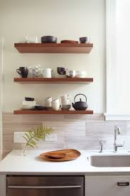 Kitchen Counter Storage Glorious Brown Hardwood Floating Open Shelving For Kitchen Storage