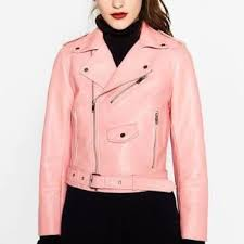 pink zara faux leather biker jacket women s fashion clothes on carou