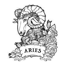 Fototapeta Znamení Berana S Ozdobným Rámečkem Růží Astrologie Umění Pojetí