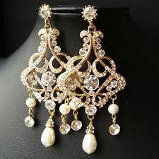 bridal gold chandelier earrings for wedding statement rhcom art deco earring rhinestonerhcom art gold chandelier earrings