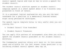 Campaign Speech Example Template Classy Student Essay Examples Grade Council Example Speech Elementary