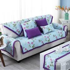 purple country style fl print four seasons slip resistant cotton cushion sofa covers